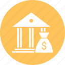 bag, bank, column, dollar, forum, guarantor icon