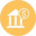 bank, building, coin, dollar, office, real icon
