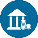 bank, building, coin, office, real icon