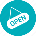 badge, open, open shop, shop sign icon