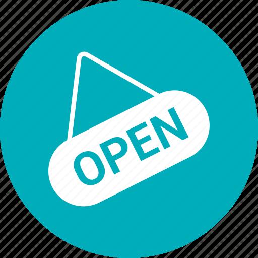 badge, open, open shop, shop sign icon