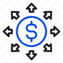 contribute, spend, investments icon