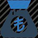 bag, business, cash, financial, lira, money icon