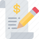 business, ecommerce, financial, money, report, writing icon