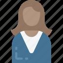 briefcase, business, businesswoman, mobile, smart icon