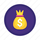 business, cash, coin, currency, dollar, finance, money, payment, sack icon