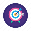 adapt, archery, arrow, goal, objective, proactive, target market icon