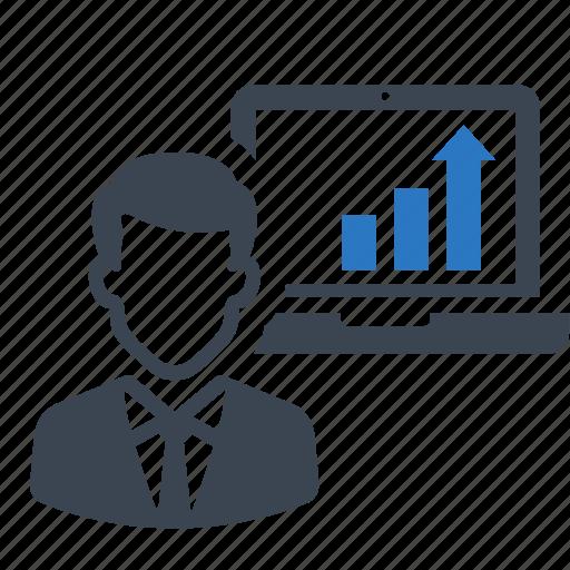 business, businessman, graph, laptop, report icon