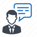 business, businessman, chat, communciation, messages icon