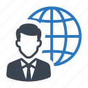 business, businessman, international, online icon