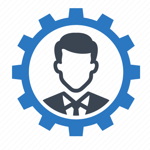 business, businessman, gear, man, user icon