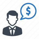 business, businessman, chat, communication, financial, money icon