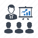 business, businessman, graph, meeting, presentation icon