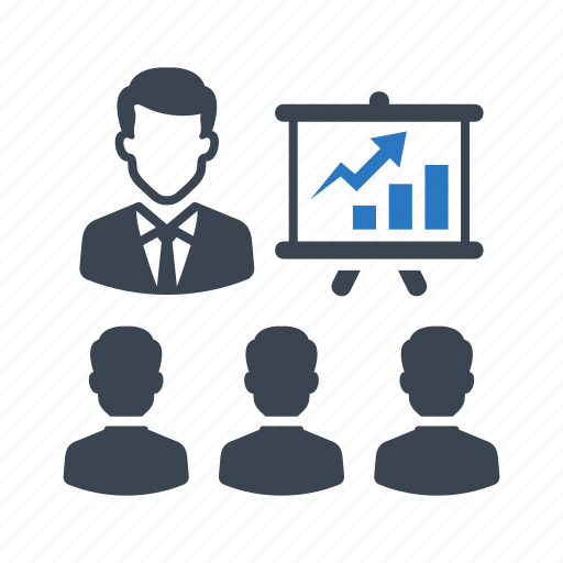 business, businessman, graph, meeting, presentation icon