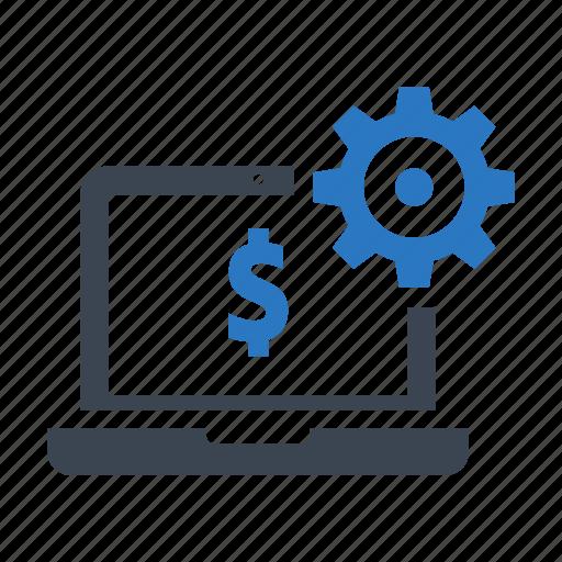 banking, dollar, gear, laptop, money, setting icon