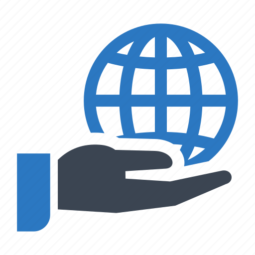business, hand, international, online, world icon