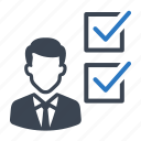 business, businessman, checklist, checkmark, list icon