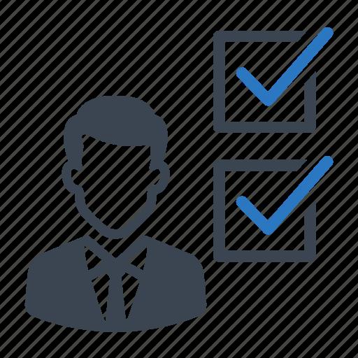 business, businessman, checklist, checkmark, list icon