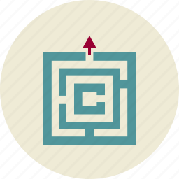arrow, business, labyrinth, output, pointer, solutions icon