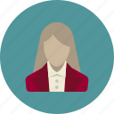account, avatar, business, staff, team, user, woman icon
