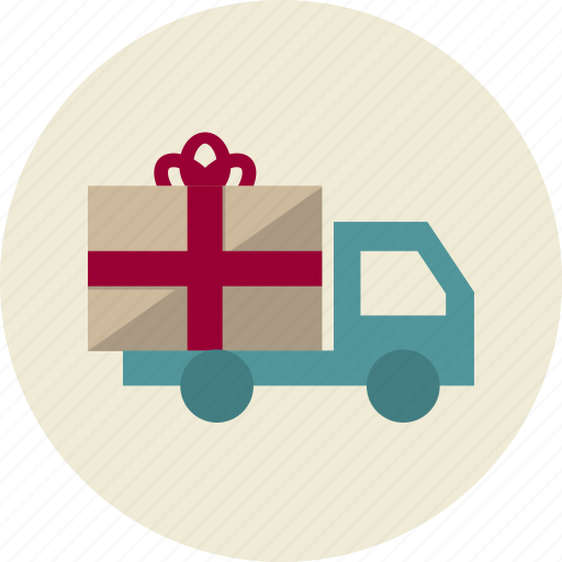 car, delivery, gift, present, shipping, transportation, truck icon