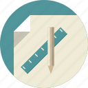 business plan, paper, pencil, planning, ruler icon
