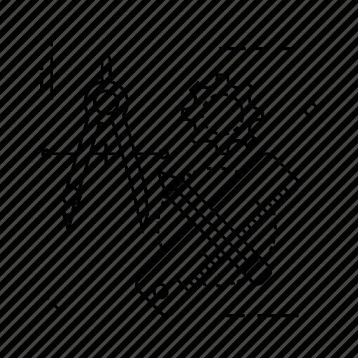 design, edit, measure, ruler icon