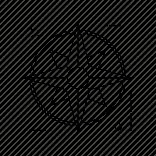 ball, compass, direction, navigation icon
