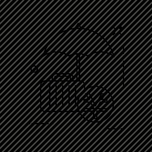 luggage, protection, secure, umbrella icon
