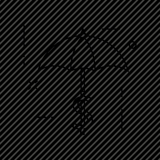 dollar, protection, secure, umbrella icon