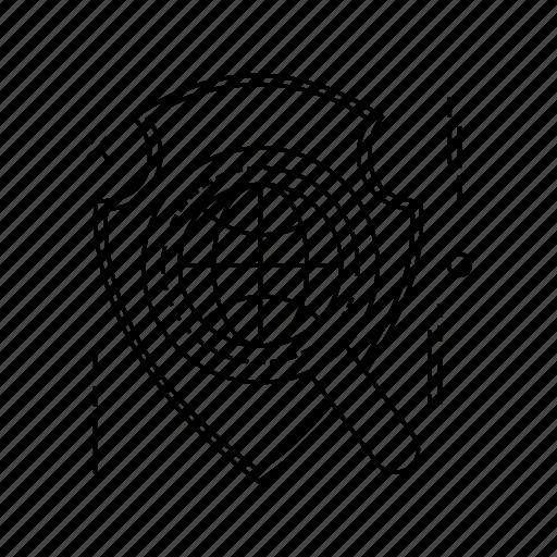 search, secure, shield, world icon