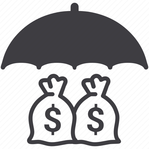 dollar, finance, insurance, money, moneybag, protection, umbrella icon