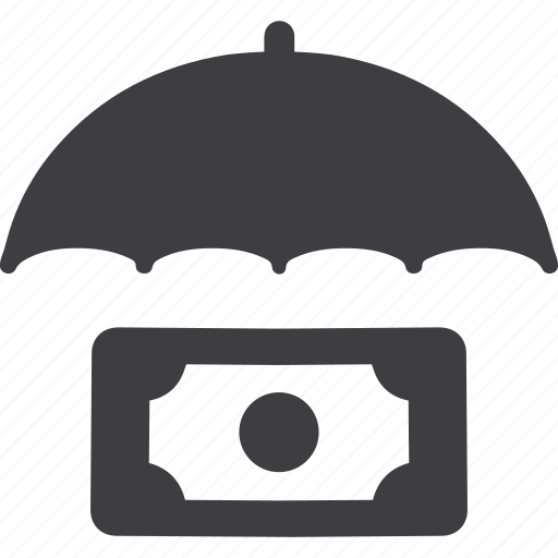 banknote, business, coin, insurance, money, safety, umbrella icon
