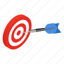 achievement, aiming, arrow, dartboard, isometric, success, target icon