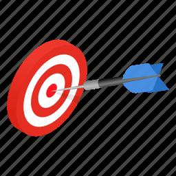 achievement, aiming, arrow, dartboard, isometric, success, target icon