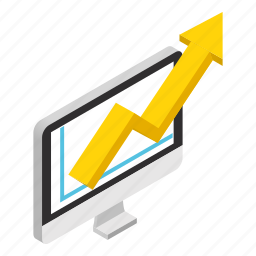bar, chart, graph, growth, isometric, pie, report icon
