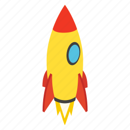 fly, isometric, rocket, ship, spaceship, startup, travel icon