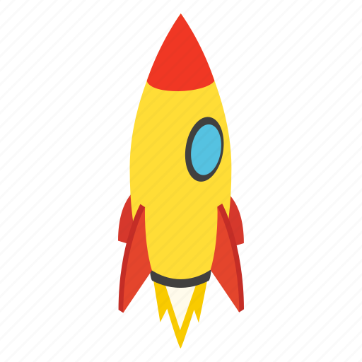 Fly Isometric Rocket Ship Spaceship Startup Travel Icon