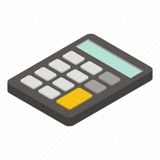 business, calculator, computer, digital, isometric, number, technology icon