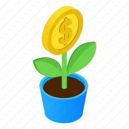 color, dollar, green, growth, money, plant, tree icon