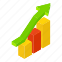 isometric, bar, graph, chart, pie, growth, report