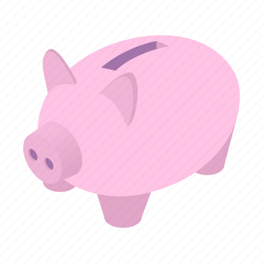 Isometric, coin, money, pig, banking, save, bank icon