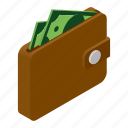 isometric, money, dollar, wallet, purse, bank icon