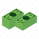 isometric, business, money, dollar, currency, purse, bank