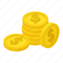 isometric, business, purse, coins, dollar, currency, bank