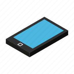 cell, display, isometric, mobile, outline, phone, thin icon