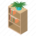archives, bibliography, book, bookcase, bookshelf, bookstore, isometric icon
