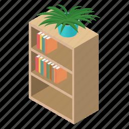 archives, bibliography, book, bookcase, bookshelf, bookstore, isometric icon