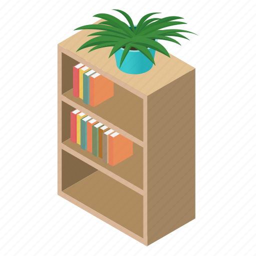 Archives, bibliography, book, bookcase, bookshelf, bookstore, isometric icon - Download on Iconfinder