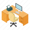 coffee, desk, employment, isometric, office, table, workplace